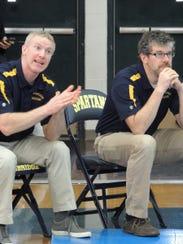 dan1: Bainbridge head coach Dan Pippinger (left) shouts