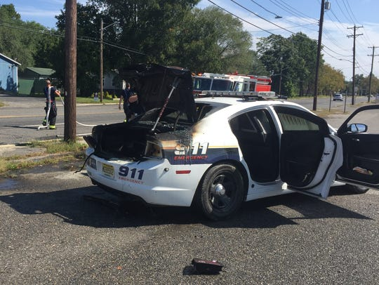A fire broke out in the trunk of a Vineland Police