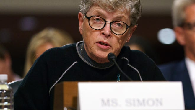 Former Michigan State president Lou Anna Simon testifies during a Senate Subcommittee on Capitol Hill in Washington, Tuesday, June 5, 2018.