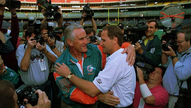 Don and Dave Shula meet before a 1994 game between the Miami Dolphins and Cincinnati Bengals in Cincinnati. They then had a rematch in 1995, also won by the Dolphins.