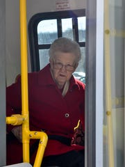 Sally Maturo on the bus that would take her back to Bald Eagle Commons from ShopRite. West Milford seniors are up in arms about the reduction of the township's bus schedule from five to three days a week.
