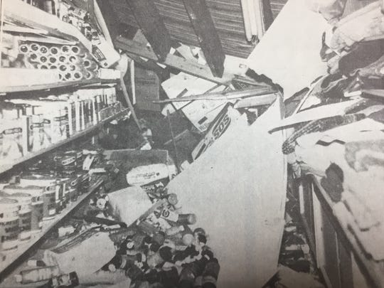 A part of the ceiling of Hicks Dollar General Store in Morganfield collapsed in March 1990. Thankfully, no one was in the area when it happened.