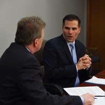 Dutchess County Executive Marc Molinaro speaks with the Journal's John Penney during an Editorial Board meeting Thursday.