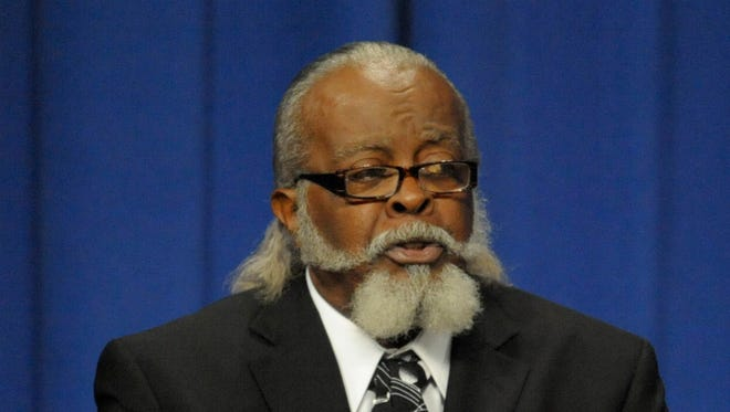 New York gubernatorial candidate Jimmy McMillan, of the Rent is Too2 Damn High Party, participates in a debate held at Hoftstra University in Hempstead, N.Y., Monday, Oct. 18, 2010.