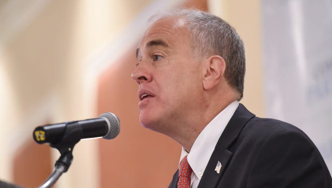 New York State Comptroller, Thomas DiNapoli, speaks about a recent report on the local economy following the recession during Wednesday's Dutchess County Regional Chamber of Commerce breakfast at the Poughkeepsie Grand Hotel.