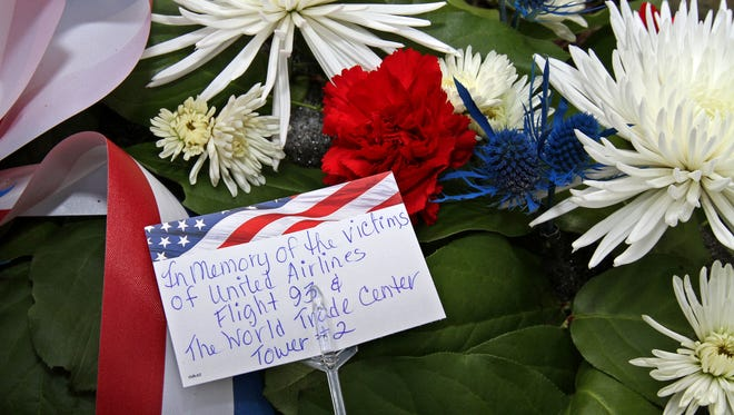 This is one of the wreaths placed during the Borough of Peapack and Gladstone's 9/11 ceremony at Liberty Park.