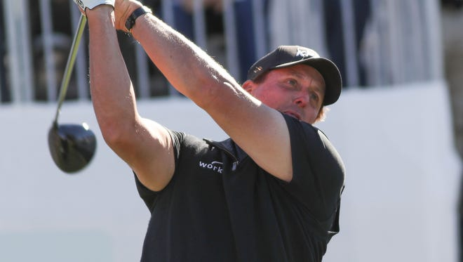 Phil Mickelson tees off on the 10th hole of the Stadium Course at PGA West during the CareerBuilder Challenge in La Quinta, January 20, 2018.
