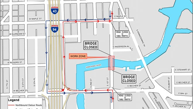 The S.1st St. bridge over the Kinnickinnic River will close Monday, July 10, for a rehabilitation project that will last until November 2018.