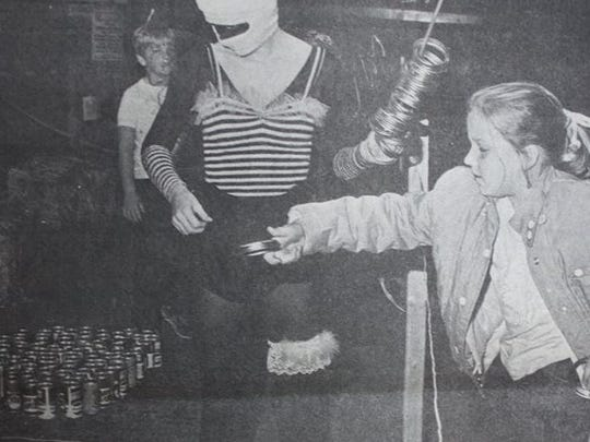 9 year old, Kristie DeMoss certainly had fun at the Sturgis Woman's Club's Haunted House which opened a two day run on a Friday night in 1983 at the old Robinson-Quinn Motor Co. building in Sturgis.