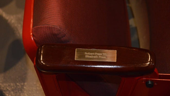 The armrests of more than 50 seats at the Richards Center for the Arts in Palm Springs have been inscribed with the names of donors or the loved ones of donors.
