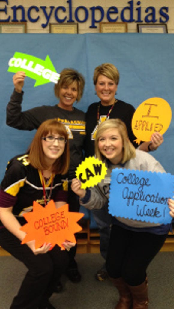Emily Simpson (bottom right) with  Jamie Martin (English Teacher, top left), Ann Bryant (Media Center Coordinator, top right),  Lindsay Ponce (Guidance Counselor, bottom left),