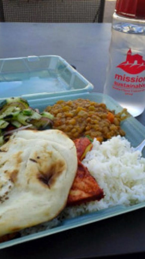 Students' most sustainable to-go option at Santa Clara University is an Eco-tray, a microwaveable, dishwasher-safe, and reusable clamshell that can be returned in exchange for a new one at any food dining area. (Photo: Courtesy of the Center for Sustainability, Santa Clara University)