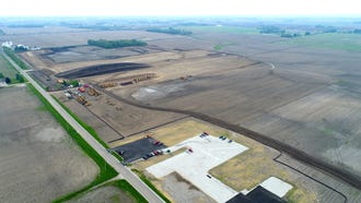 Grading work continues, looking southeast of the Foxconn facility in Mount Pleasant.