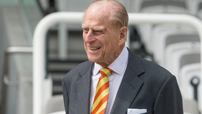 Britain's Prince Philip, the Duke of Edinburgh, smiles during his visit to Lord's Cricket Ground to open the new Warner Stand, in London.
