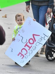 Small protestor Carter Soloman carries a sign, with