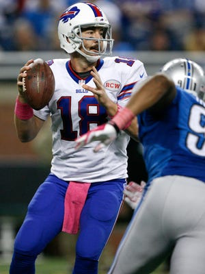 Buffalo Bills quarterback Kyle Orton (18) said someone in the crowd last Sunday at Detroit's Ford Field aimed a powerful laser pointer at his eyes, one of two incidents reported by Bills players. The Detroit Lions and the NFL are investigating.