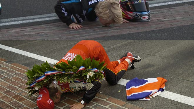 Top: Sebastian Wheldon kisses the yard of bricks at Indianapolis Motor Speedway in 2018. Bottom: Dan Wheldon kisses the bricks after winning the 2005 Indy 500.