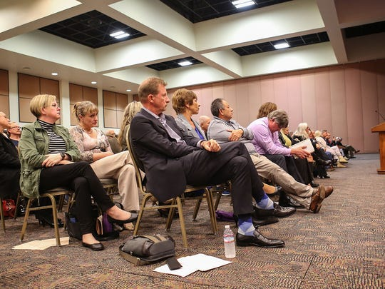 Michael Braun of the Wessman Development Company attends a special study session by the Palm Springs City Council, February 27, 2017.