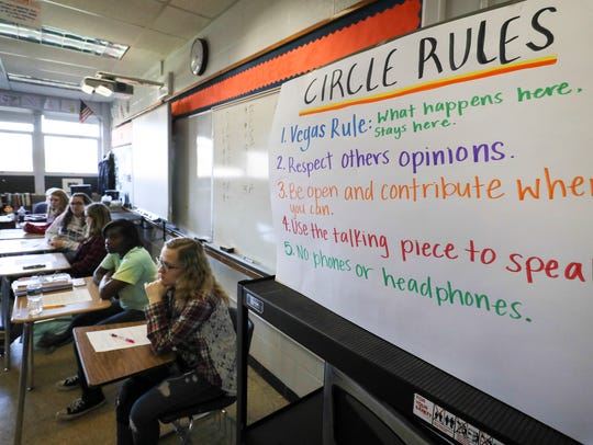 Rules for a discussion circle hang in Ben Roberson's classroom at Waggener High School.