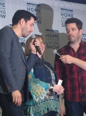 """Property Brothers"" Drew (left) and Jonathan (right) answered questions from audience winners at the Des Moines Home and Outdoor Living Show on Saturday, March 12."
