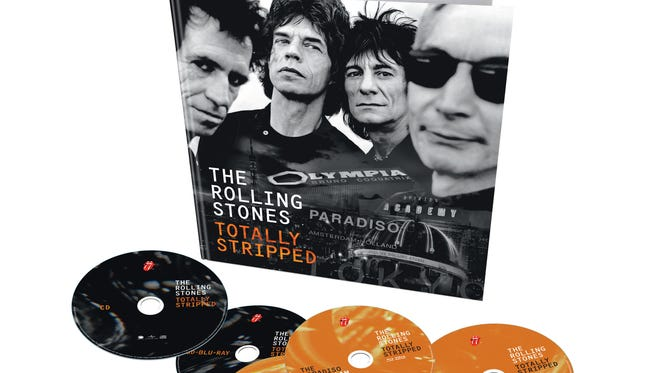 "The Rolling Stones' ""Totally Stripped"" deluxe edition features a re-issue of the band's 1995 ""Stripped"" acoustic live album, three live concerts on DVD, a documentary and a 60-page book."