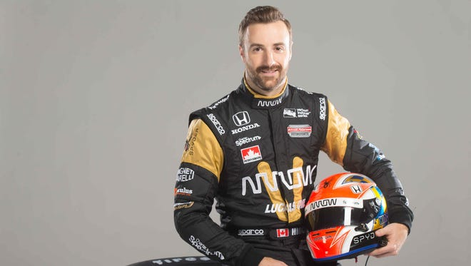 Indy Car Driver James Hinchcliffe poses for photos during Indy Car Media Day at the Indianapolis Motor Speedway, Tuesday February 2nd, 2015.