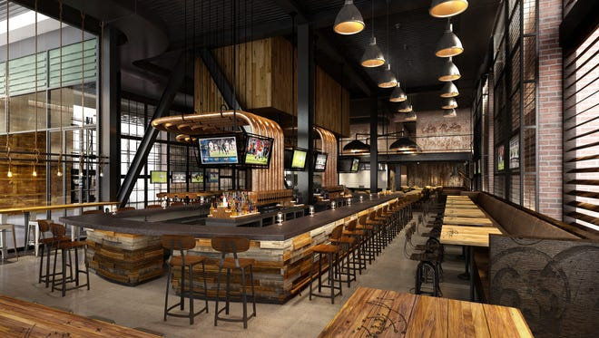 An artist's rendering of the bar area in the new 1919 Kitchen & Tap, which is scheduled to open this summer in the Lambeau Field Atrium.