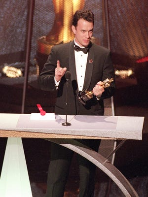 """Best Actor winner Tom Hanks gives an emotional speech at the 66th Annual Academy Awards in Los Angeles on March 21, 1994.  Hanks won for his role in the movie """"Philadelphia,""""  which is being shown at this year's ImageOut festival."""