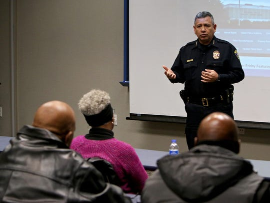 Wichita Falls Police Chief Manuel Borrego talks with
