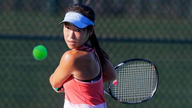 J.P. Stevens' Elizabeth Yu practices on Sept. 2, 2016.