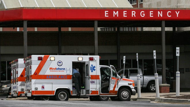 An ambulance arrives at the AnMed Health Medical Center emergency department on North Fant Street in Anderson.