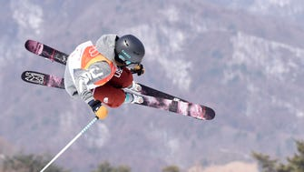 Brita Sigourney (USA) competes in the ski halfpipe qualifications during the Pyeongchang 2018 Olympic Winter Games at Phoenix Snow Park on Feb. 19.