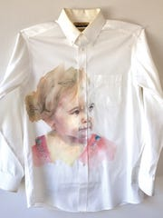 """Museum Purchase Award with funds provided by the Southwest Missouri Museum Associates: Emily Wood, """"Reason: Pepper,"""" 2018, Watercolor and pencil on cotton dress shirt ©Emily Wood"""