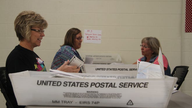Janet Booker, Debbie Heinrich and Chris Neatherlin count ballots for gross receipts tax increases, Tuesday, Sept, 26, 2017. The results will become official at Eddy County Commission special board meeting Wednesday morning.
