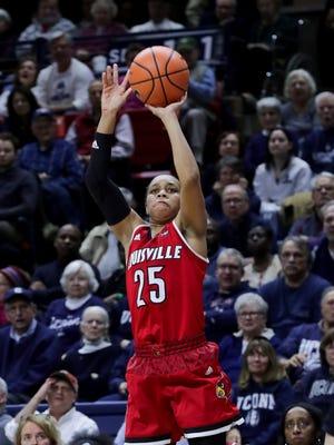 Louisville's Asia Durr  knocks down a three against UConn.