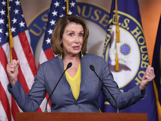 House Minority Leader Nancy Pelosi speaks to the media