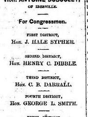 The Louisiana Republican ticket for the election of 1874 showing Charles E. Nash as the candidate to represent the 6th Louisiana District in the House of Representatives. Nash won that election.