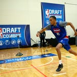 Brice Johnson, from North Carolina, participates in the NBA draft basketball combine Friday, May 13, 2016, in Chicago.