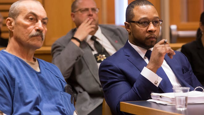 Attorney Jarrett Adams (right) is shown is court with  Richard Beranek (left) Tuesday, February 14, 2017 in Dane County Court in Madison, Wis. Adams was wrongfully convicted at age 17 of rape and now works for the Wisconsin Innocence Project. He is part of a defense team representing Beranek working for post-conviction relief from a sexual assault conviction after new DNA testing proves hair found at the scene of the crime did not belong to Beranek.  MARK  HOFFMAN/MHOFFMAN@JOURNALSENTINEL.COM