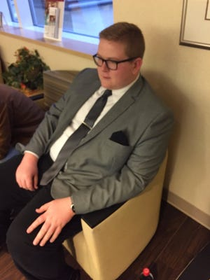Grant Kessler dressed to impress when he met his newborn niece for the first time.