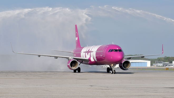 WOW Air's inaugural flight to Baltimore/Washington International Airport gets a water-cannon salute on May 8, 2015.