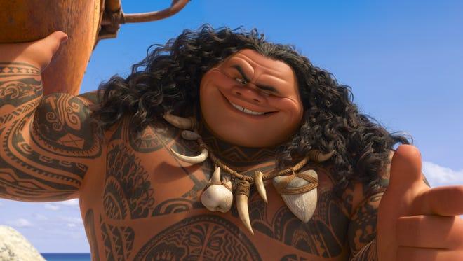 Dwayne Johnson voices Maui in 'Moana.'