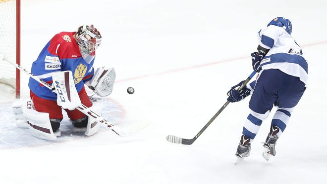 Teemu Pulkkinen of Finland plays in an exhibition against Russia, in Moscow on April 28, 2016.