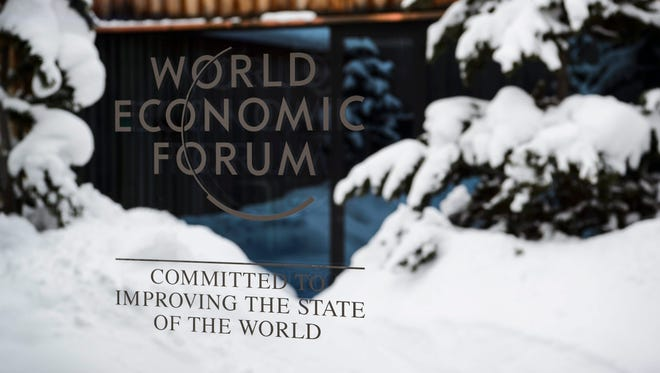 A logo is seen at the  Congress Center on the eve of the opening of the 46th Annual Meeting of the World Economic Forum in Davos, Switzerland.