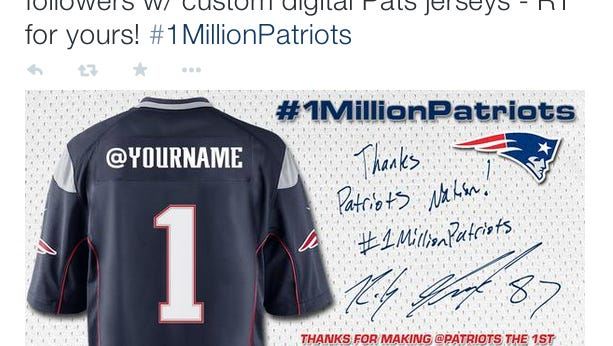 """On Thursday, the Patriots official Twitter account had a promotion where they thanked some of the followers who helped them reach a million followers with """"digital custom jerseys""""."""