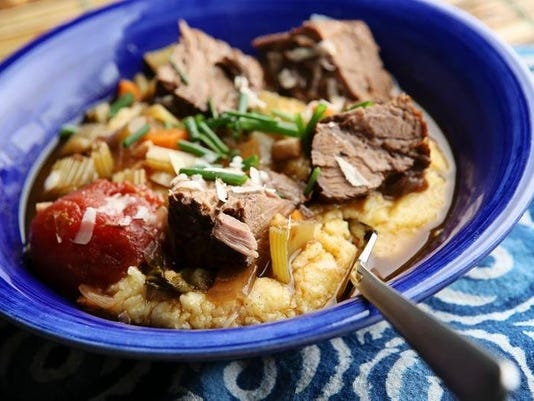 Chris Ross' red wine and tomato-braised chuck roast with Parmesan polenta