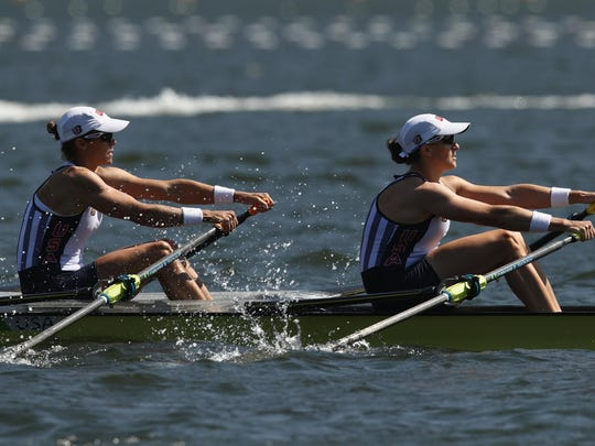 """U.S. rowers Meghan O'Leary and Ellen Tomek have been competing together since 2013. """"We are both very intense athletes,"""" Tomek said."""