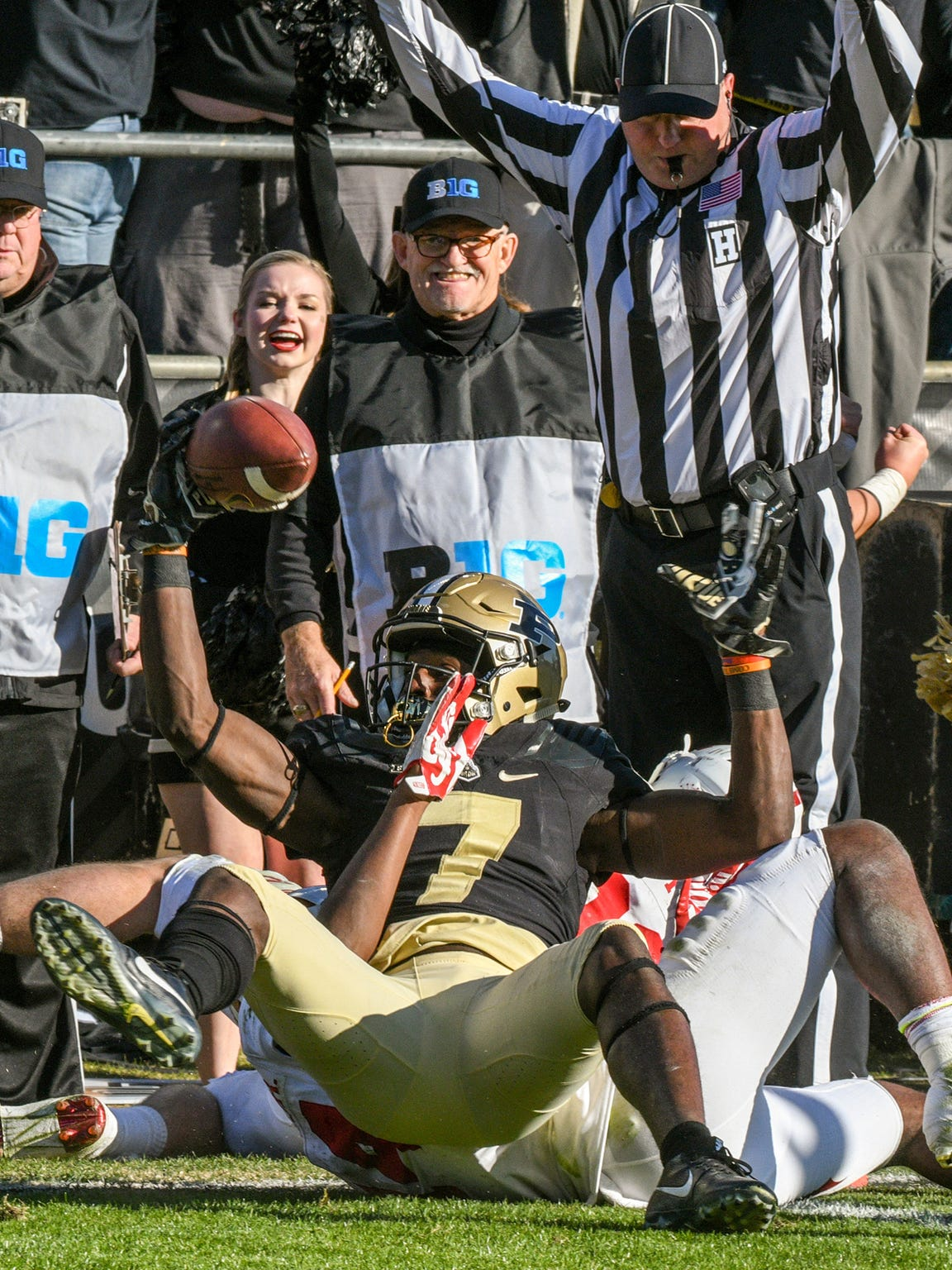 Isaac Zico of Purdue with a second half touchdown reception