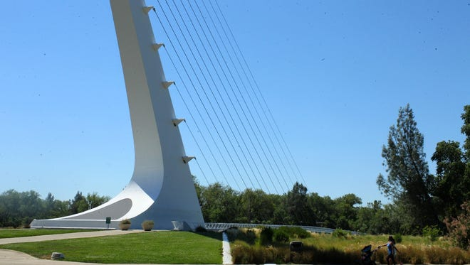 The Sundial Bridge casts its shadow on the summer solstice.