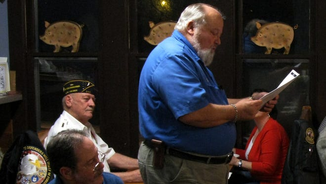 Ron Hayden delivers the facts and figures at the Disabled American Veterans (DAV) dinner.  DAV vans carry Veterans to and from the Little Rock VA Hospital free of charge. Hayden has been organizing the payment for the vans and the transportation schedule for Veterans in Mountain Home for 28 years. If you would like to volunteer to be a driver or if you are a Veteran in need of a ride to the VA Hospital, call 425-2003.